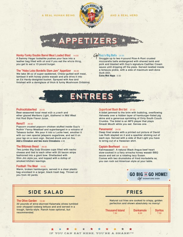 Someone nabbed Guy Fieri's NYC restaurant domain name and posts parody menu.