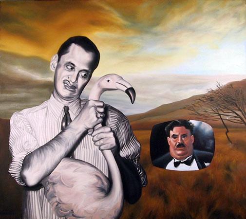 Random Picture of John Waters Strangling a Flamingo