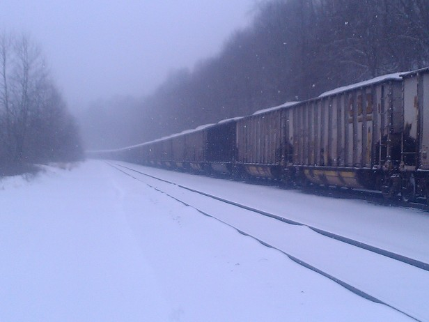 This train has been parked there for over a year. I startled deer that bed down beneath it.
