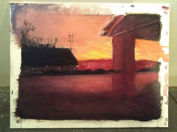 Sunset, a one hour oil painting