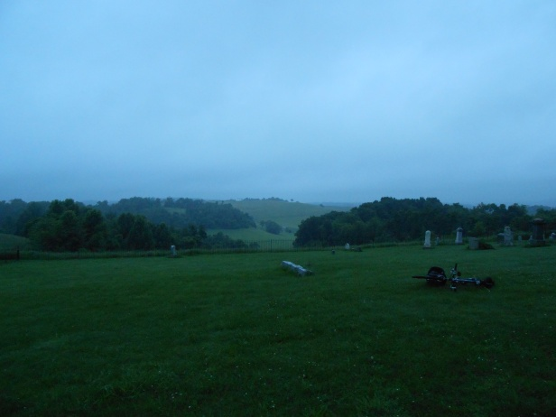 Arriving at Quaker Church cemetery by bicycle on the summer solstice at dawn, June 21, 2014