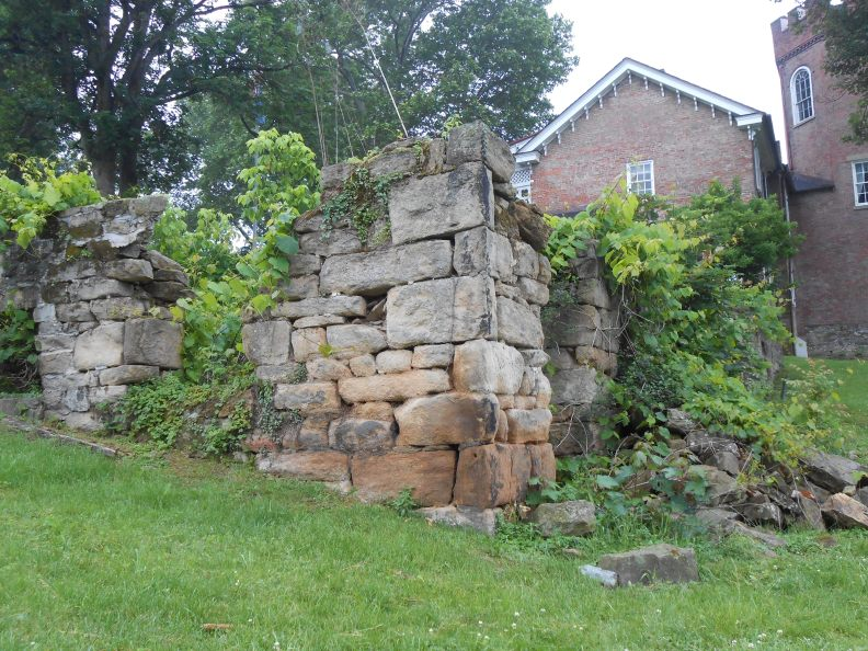 ruins of Burd's Fort at Nemacolin Castle, a.k.a. Old Redstone Fort built atop a prehistoric earthen mound upon a bluff overlooking the Monongahela River in Brownsville, PA